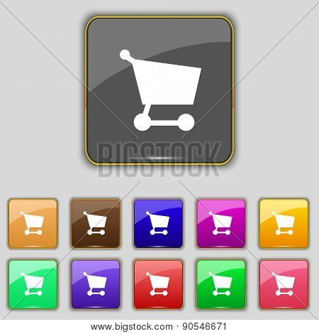 Shopping Basket Icon Sign. Set With Eleven Colored Buttons For Your Site. Vector