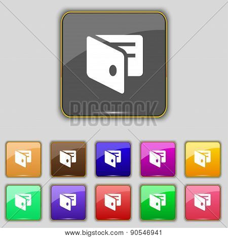 Ewallet, Electronic Wallet, Business Card Holder Icon Sign. Set With Eleven Colored Buttons For Your