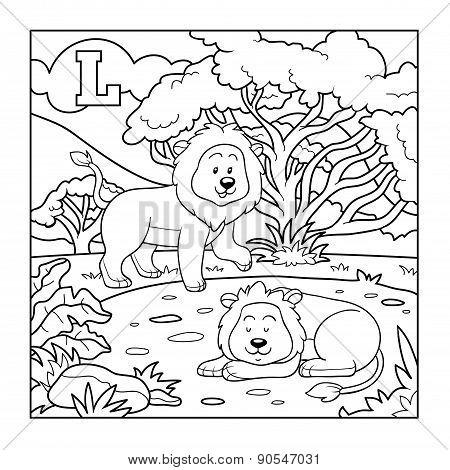 Coloring Book (lion), Colorless Alphabet For Children: Letter L