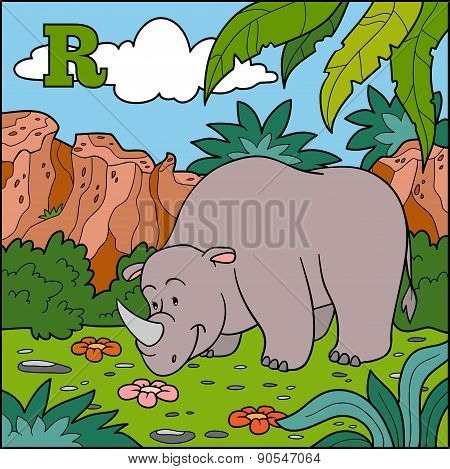 Color Alphabet For Children: Letter R (rhino)