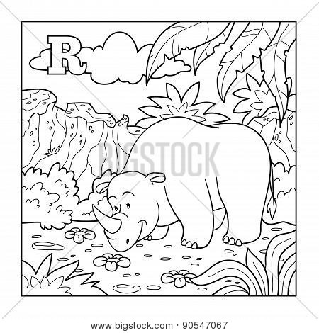 Coloring Book (rhino), Colorless Alphabet For Children: Letter R