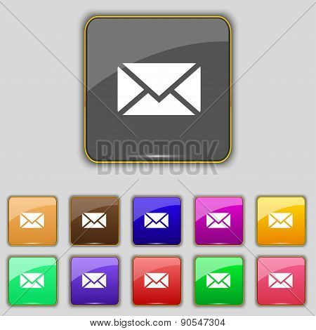 Mail, Envelope, Message Icon Sign. Set With Eleven Colored Buttons For Your Site. Vector