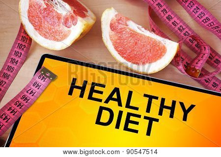 Tablet with healthy diet.