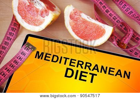 Tablet with Mediterranean diet.
