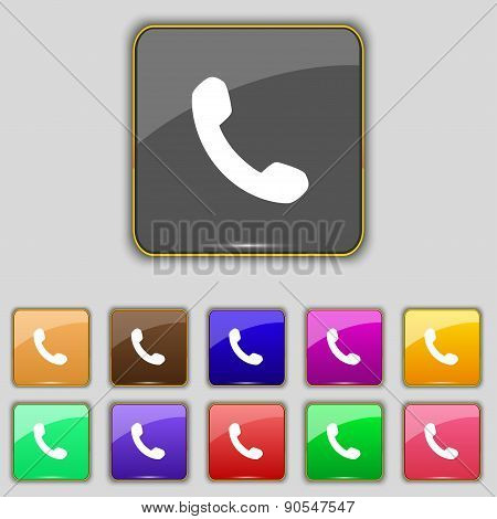 Phone, Support, Call Center Icon Sign. Set With Eleven Colored Buttons For Your Site. Vector