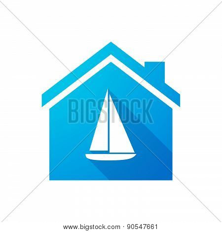 Blue House Icon With A Ship
