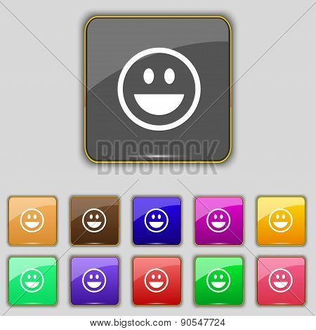 Funny Face Icon Sign. Set With Eleven Colored Buttons For Your Site. Vector