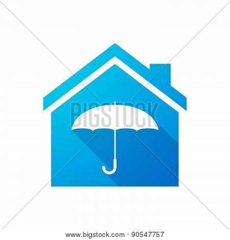 Blue House Icon With An Umbrella