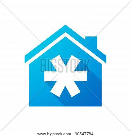 Blue House Icon With An Asterisk