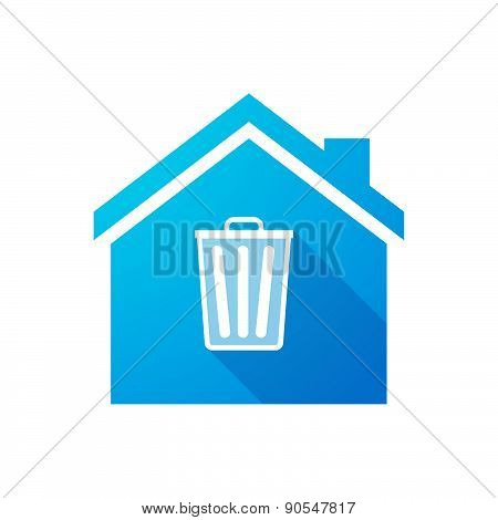 Blue House Icon With A Trash Can