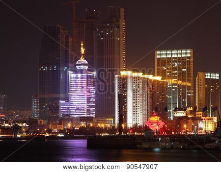 Night cityscape of Qingdao