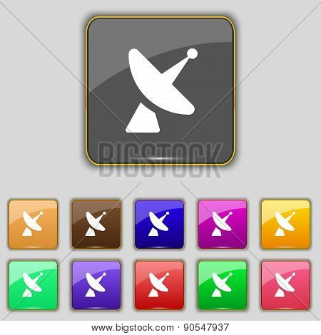 Satellite Dish Icon Sign. Set With Eleven Colored Buttons For Your Site. Vector