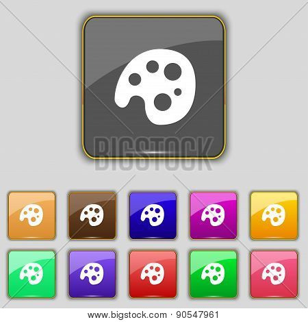 Palette Icon Sign. Set With Eleven Colored Buttons For Your Site. Vector