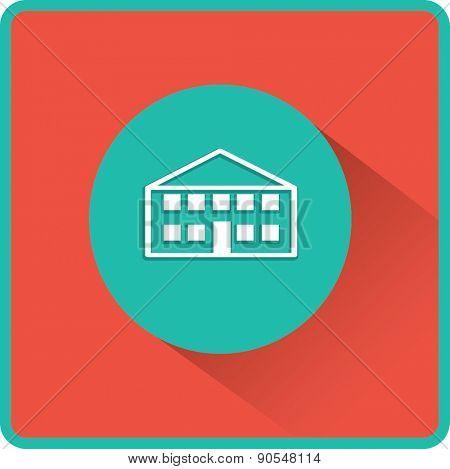 School building. Vector flat icon.