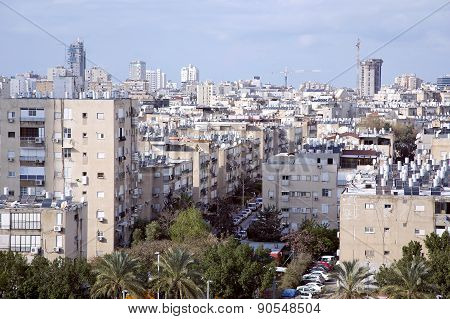 View on the rooftops of houses in Bat-Yam, Israel