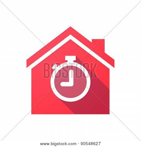 Red House Icon With A Timer