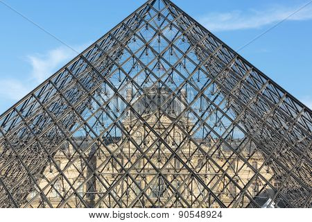 The Glass Pyramid in Louvre Paris France.