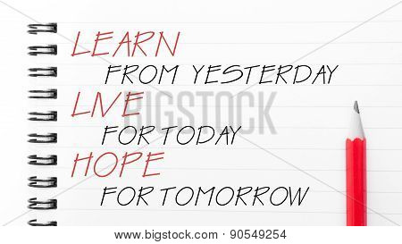 Learn, Live, Hope Text Written On Notebook Page