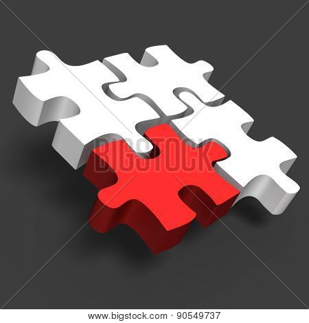 jigsaw puzzle with one red and white 3d puzzle business concept