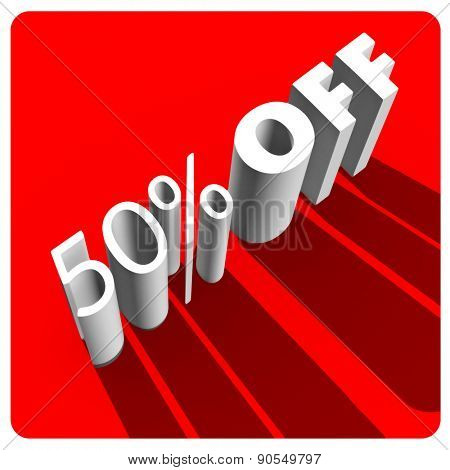 5 percent off white 3d letters on red background
