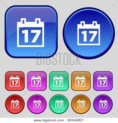 Calendar, Date Or Event Reminder Icon Sign. A Set Of Twelve Vintage Buttons For Your Design. Vector