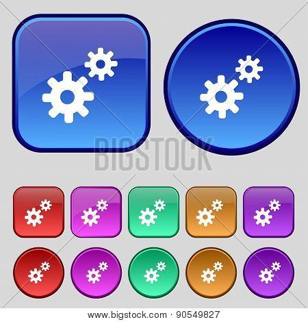 Cog Settings,  Cogwheel Gear Mechanism Icon Sign. A Set Of Twelve Vintage Buttons For Your Design. V