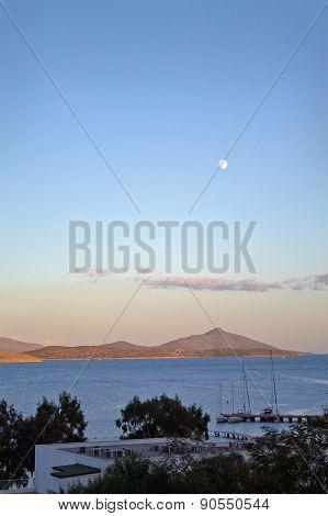 moon over Aegean Sea