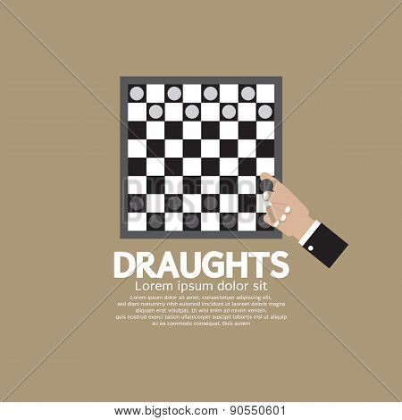 Draughts Or Checker Board Game.