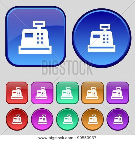 Cash Register Icon Sign. A Set Of Twelve Vintage Buttons For Your Design. Vector