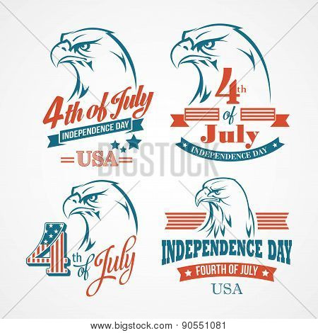 Independence Day typography and an eagle. Vector illustration