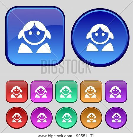Female, Woman Human, Women Toilet, User, Login Icon Sign. A Set Of Twelve Vintage Buttons For Your D