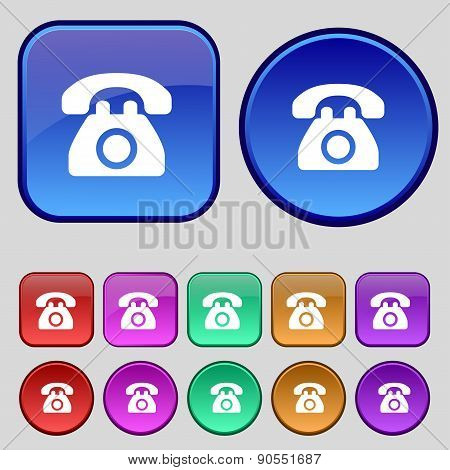 Retro Telephone Icon Sign. A Set Of Twelve Vintage Buttons For Your Design. Vector