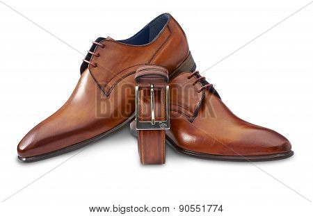 Brown Leather Shoes With Belt And Clipping Path