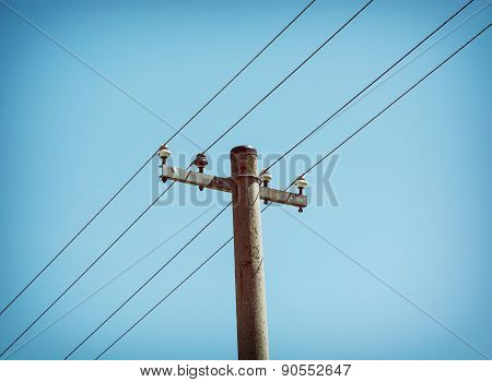 Electricity Pylon And Blue Sky