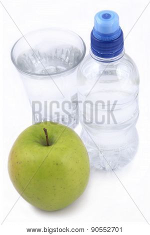 Bottle Of Water, Green Apple And Glass Of Water