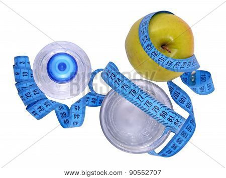 Bottle Of Water, Green Apple, Glass Of Water And Measuring Tape Isolated On White