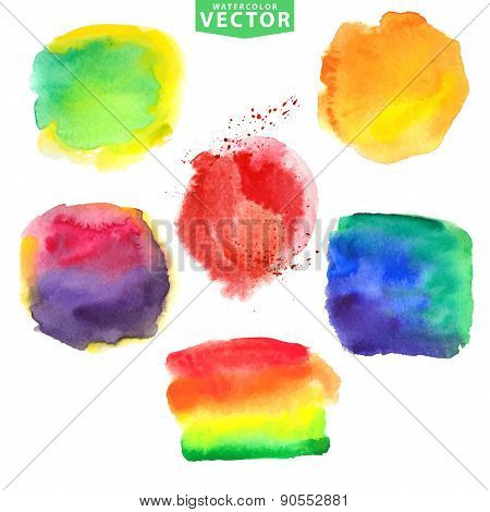 Watercolor stains.Vivid bright colors