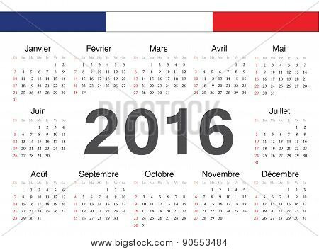 Vector French Circle Calendar 2016