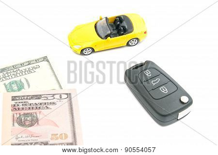 Yellow Car With Keys And Notes