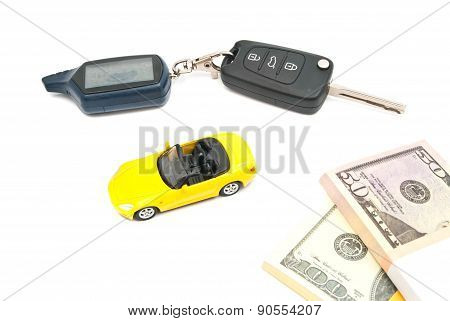Yellow Car, Keys And Notes On White