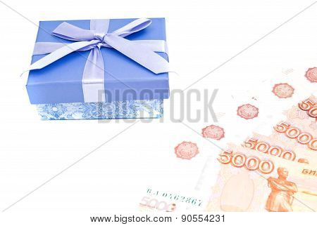 Blue Gift Box And Notes On White