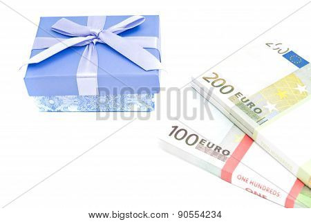 Blue Gift Box And Money On White