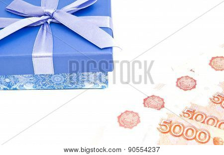 Blue Gift Box And Money