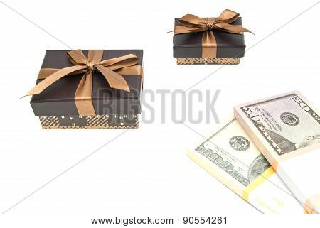 Two Brown Gift Boxes And Notes