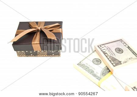 Brown Gift Box And Notes On White