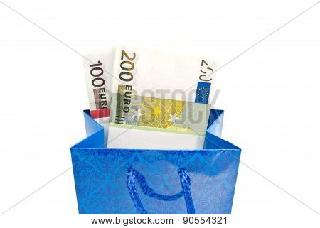 Blue Gift Bag With Banknotes Closeup