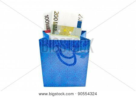 Blue Gift Bag With Banknotes