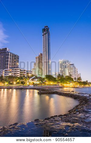 Hotel On Beach And Sea Twilight