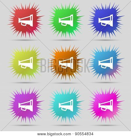 Megaphone Soon, Loudspeaker Icon Sign. A Set Of Nine Original Needle Buttons. Vector