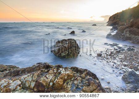 Sunset Coastal With Rock Stone